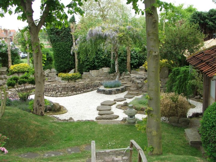 Japanese landscape design with sand garden and stone pathway