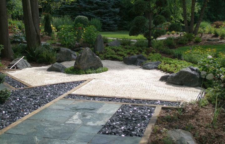 Japanese landscape design with small sand garden