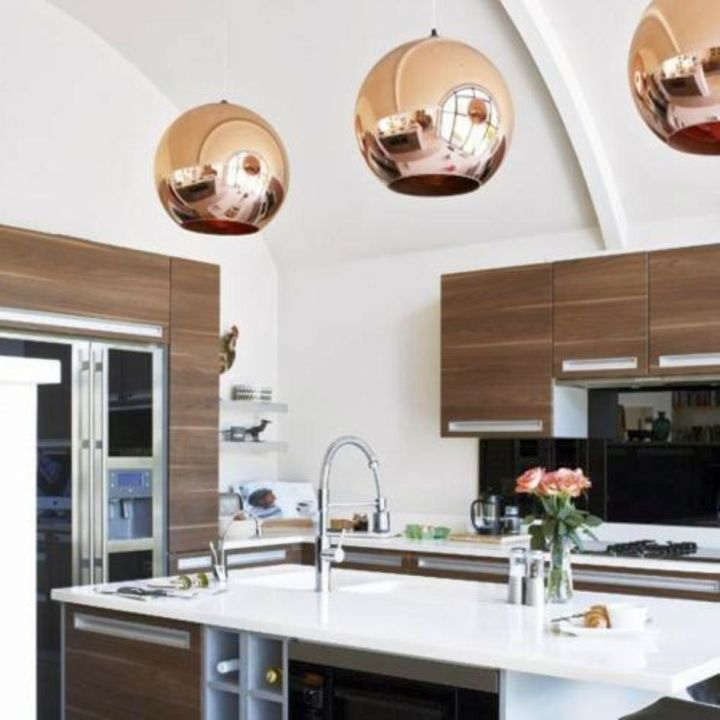 Kitchen Island Pendant Lighting Ideas Retro Gold Ball - Gold kitchen pendant lights