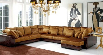 L Shaped golden Italian Sofa Brands
