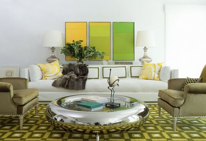 Living room with lined Grey and Green in many shades