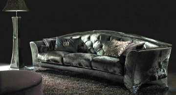 Luxury black velvet Italian Sofa Brands