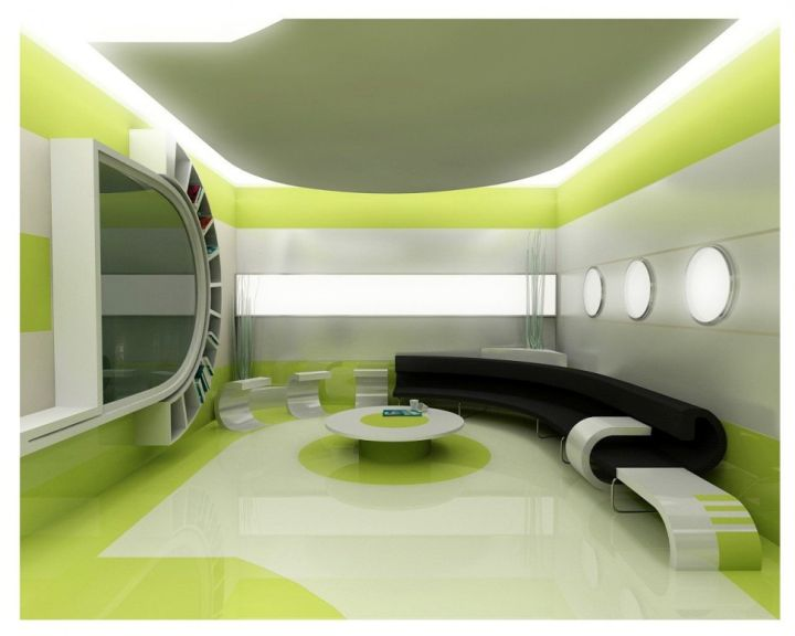 Modern living room in Grey and Green with a large mirror