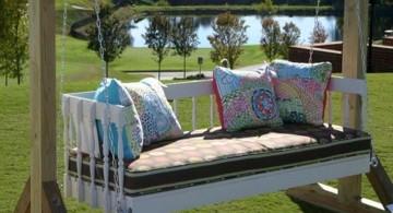 Outdoor swinging beds in blue