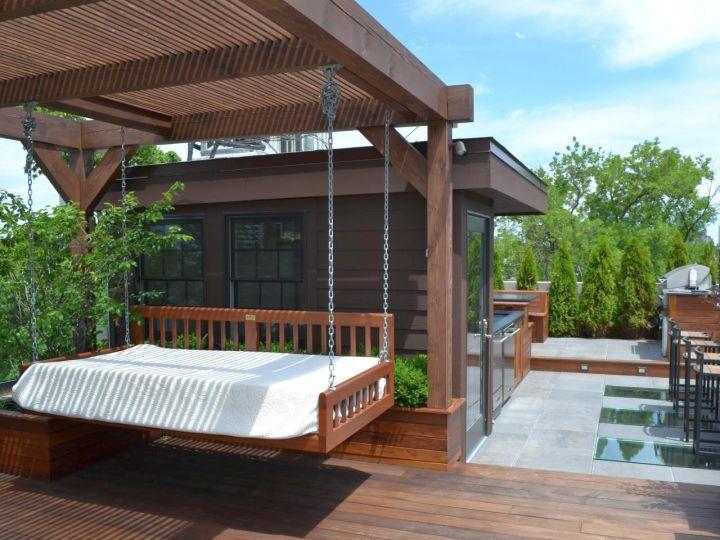 Outdoor swinging beds minimalist
