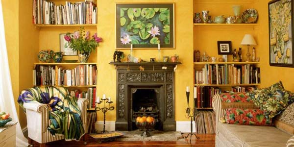 Tuscan living room decor for small rooms featuring yellow wall ...