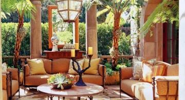 Tuscan living room decor with skylight
