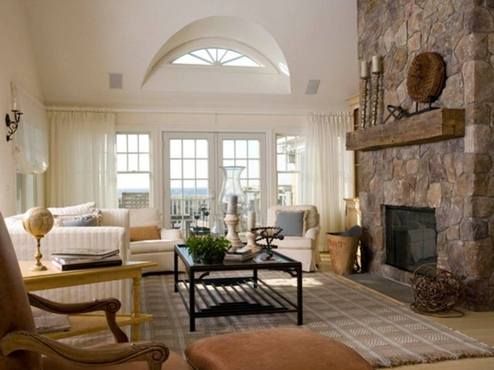 17 tuscan living room decor ideas classic interior design - Great home interior and exterior decoration with white stone fireplace ...