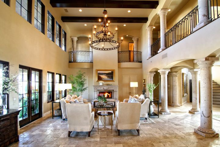 17 tuscan living room decor ideas classic interior design for Tall ceiling decor