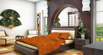 asian inspired bedroom with large fans decor