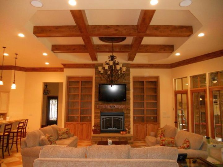 beautiful drop ceiling with exposed beams accent