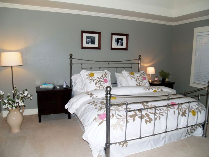bedroom basement ideas in grey and white