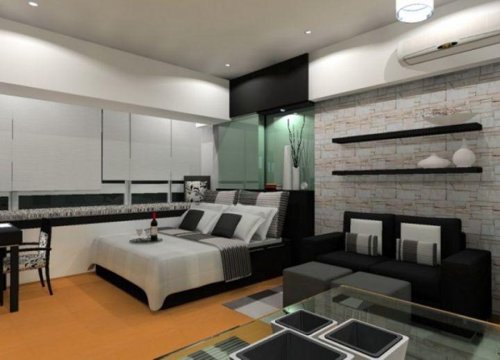 bedroom basement ideas in monochrome