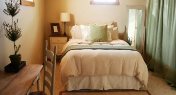bedroom basement ideas with pastel wall and small closet