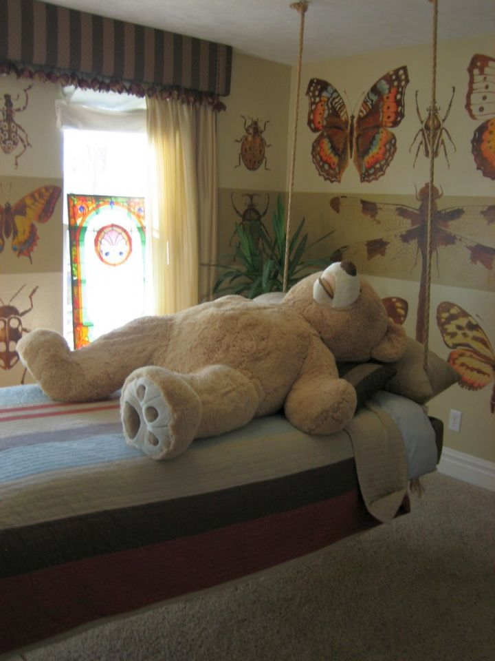 bedroom swings with a bear