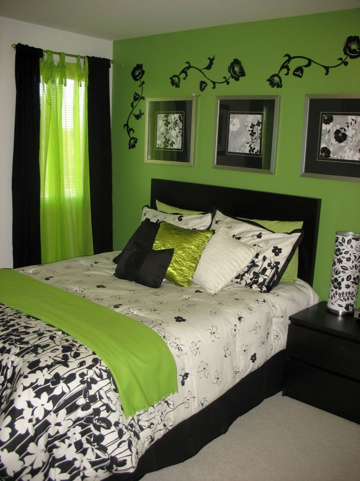 black and lime green bedroom
