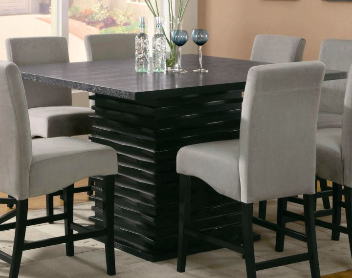 Black Granite Dining Room Table With Unique Stand