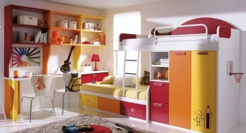 bright and colorful desk and bed combination