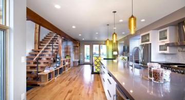 bright golden hanging kitchen light