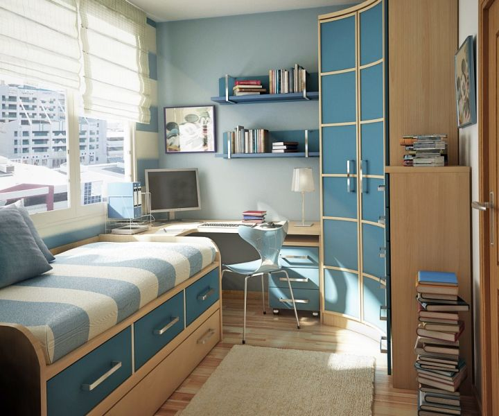 brown and blue bedroom for small bedrooms