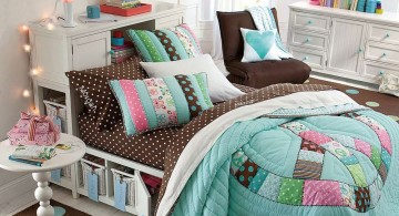 brown and blue bedroom for teenage girls