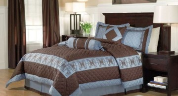 brown and blue bedroom for the bedding
