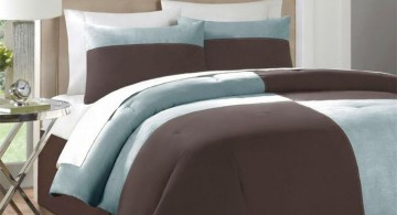 brown and blue bedroom in simple slice and partition design