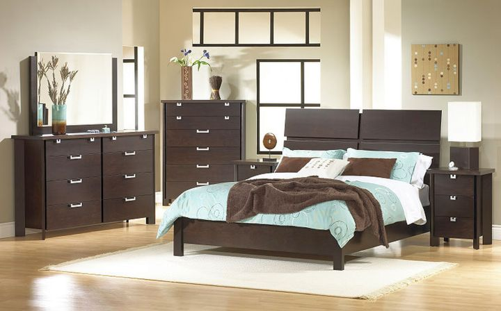brown and blue bedroom with espresso furniture