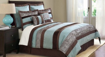 brown and blue bedroom with stripes