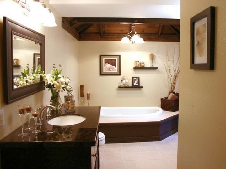 Lovely Brown Bathrooms For Small House Photo