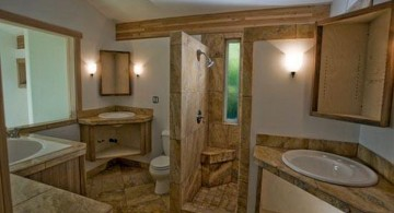 brown bathrooms with faux wood marble tiles