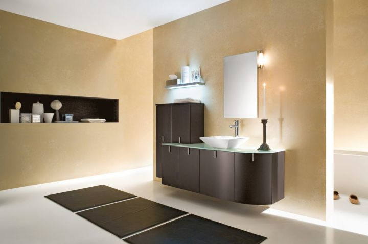 brown bathrooms with floating shelf
