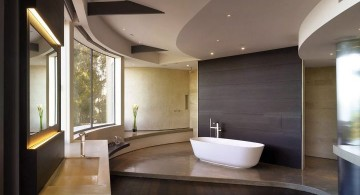 brown bathrooms with unique ceiling