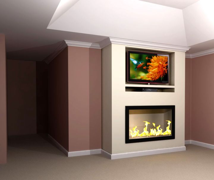 built in TV above fireplace