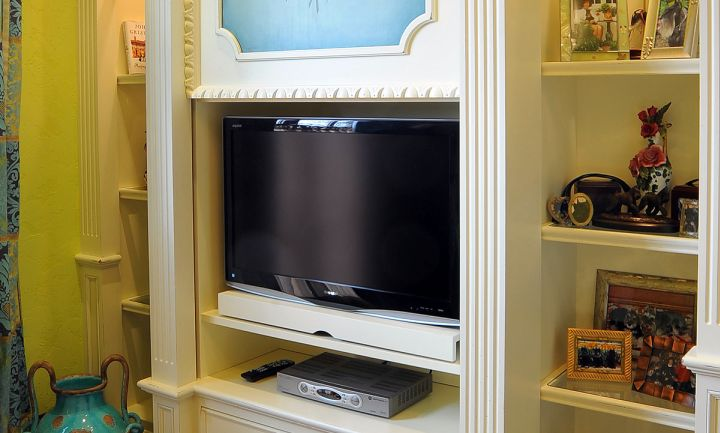 built in TV on cabinets