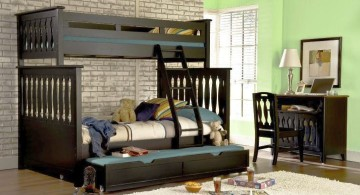 bunk bed for adults in dark woods