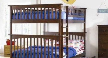 bunk bed for adults with blue bedding