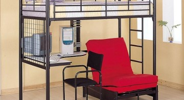 bunk bed for adults with red chair underneath