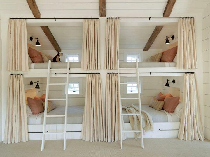 bunk bedroom ideas built into wall beds