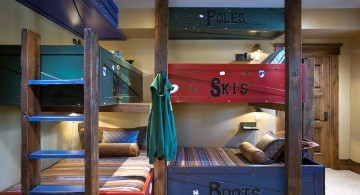 bunk bedroom ideas in red and blue