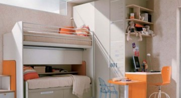 bunk bedroom ideas in white and orange