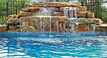 cascading pools with waterfalls