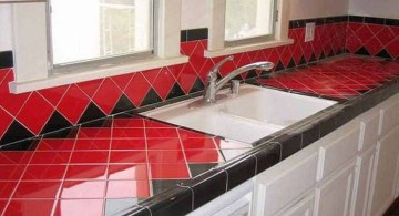 cheap countertop solution in red and black