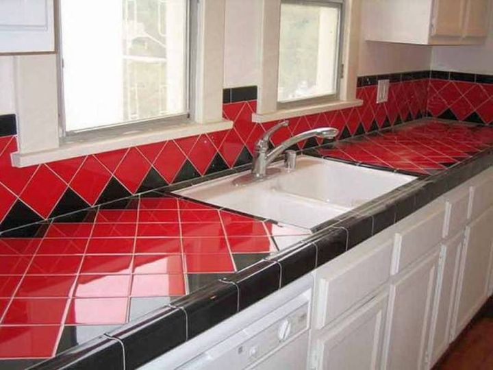 Countertop Solution In Red And Black
