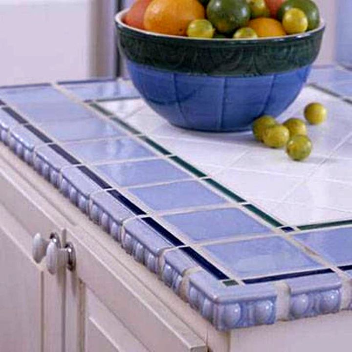 cheap countertop solution with blue tiles