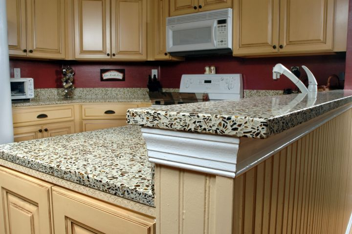 cheap countertop solution with recycled paper and glass