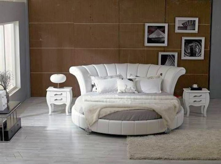 classy round bed frame with tall headboard