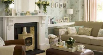 classy small sitting room ideas with white fireplace
