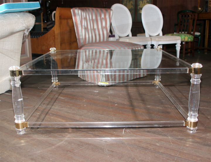 classy square lucite coffee table