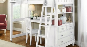 classy white loft bed with desk